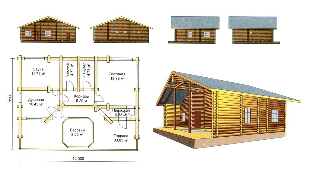 проект бань с бассейном