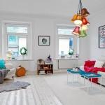 Скандинавский яркий стиль в интерьере квартиры