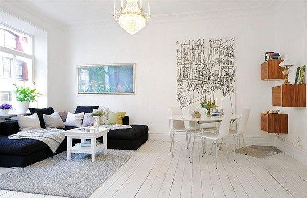 интерьер гостинной в скандинавском стиле