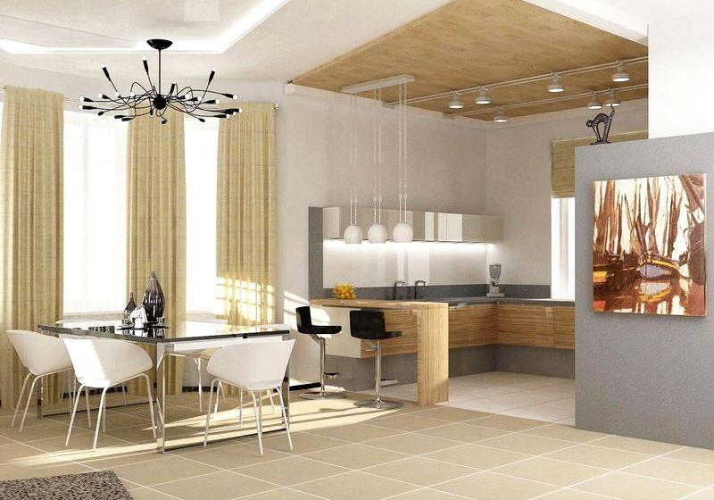 дизайн интерьера кухни в доме Открытая