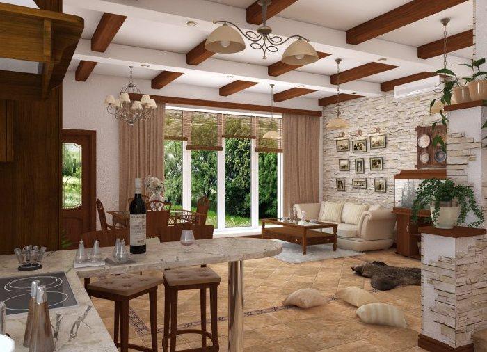 дизайн интерьера кухни потолочные балки