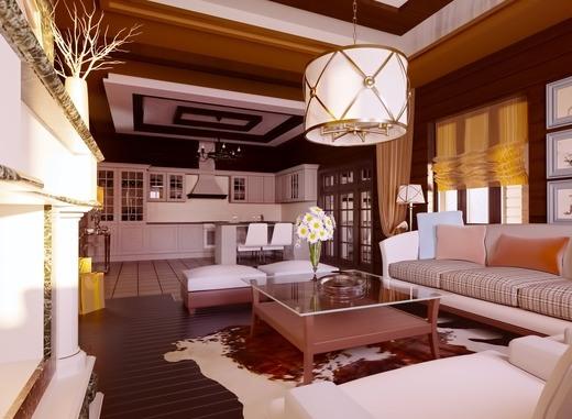 средиземноморский дизайн интерьера дома из бруса