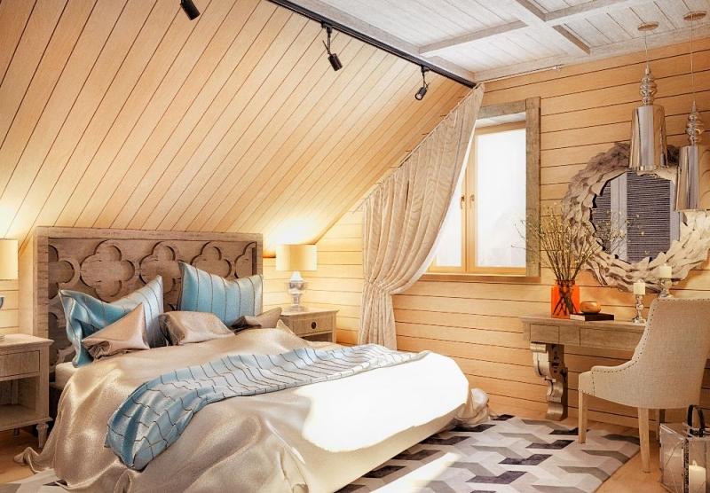 Дизайн интерьер мансарды деревянного дома спальня