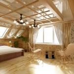 Дизайн интерьер мансарды деревянного дома