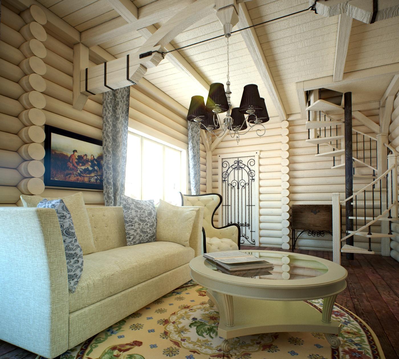 Дизайн интерьер мансарды деревянного дома3