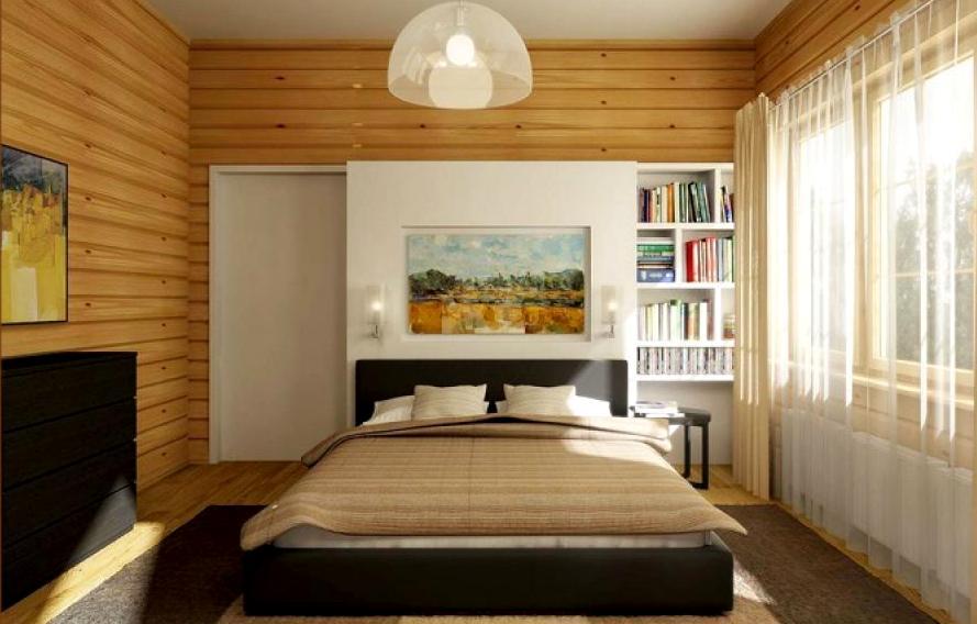 Интерьер спальни в деревянном доме6