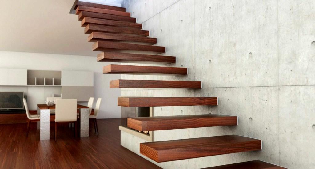 деревянная больцевая лестница в интерьере