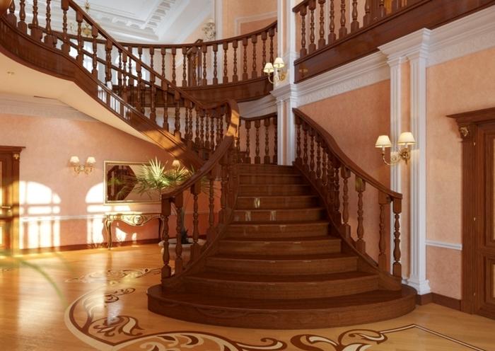 деревянная парадная лестница в интерьере