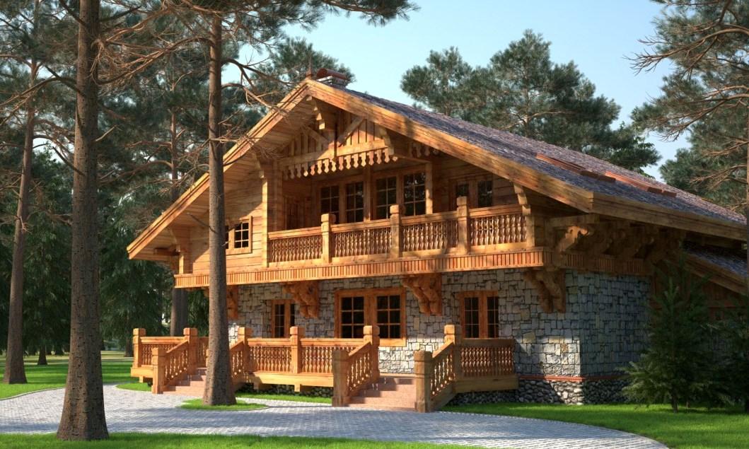 деревянный дом в стиле шале2