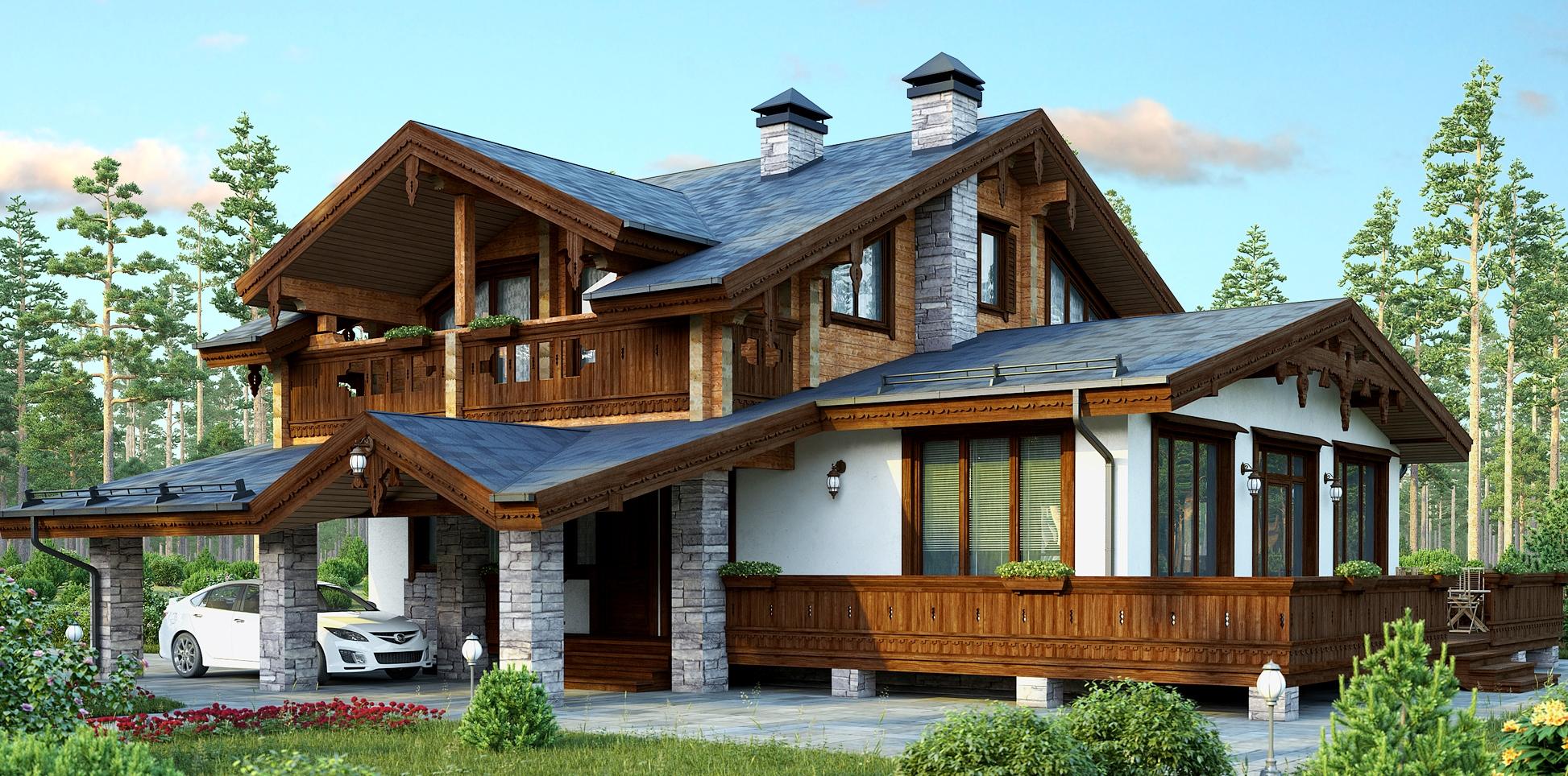 деревянный дом в стиле шале4