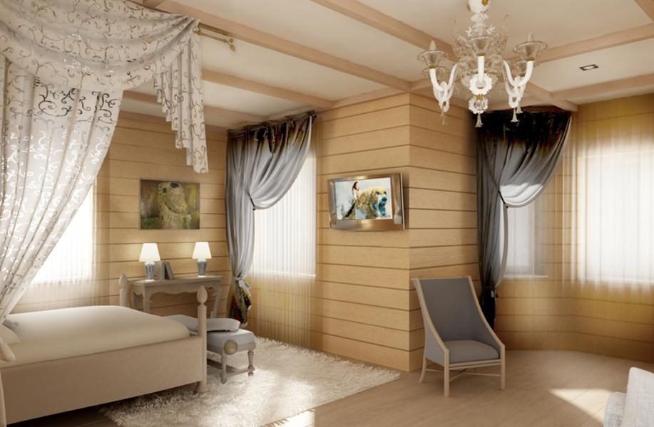 Современный интерьер спальни в деревянном доме фото