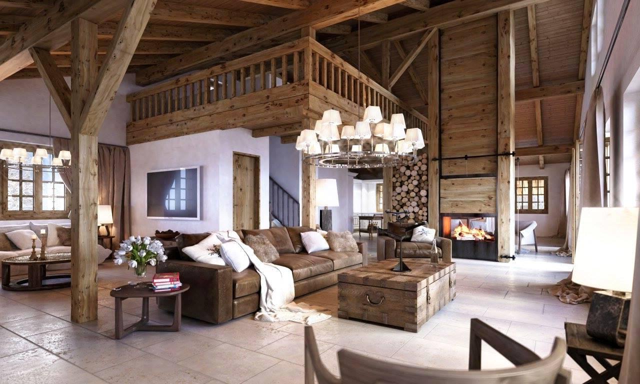 Интерьеры деревянных домов в стиле шале