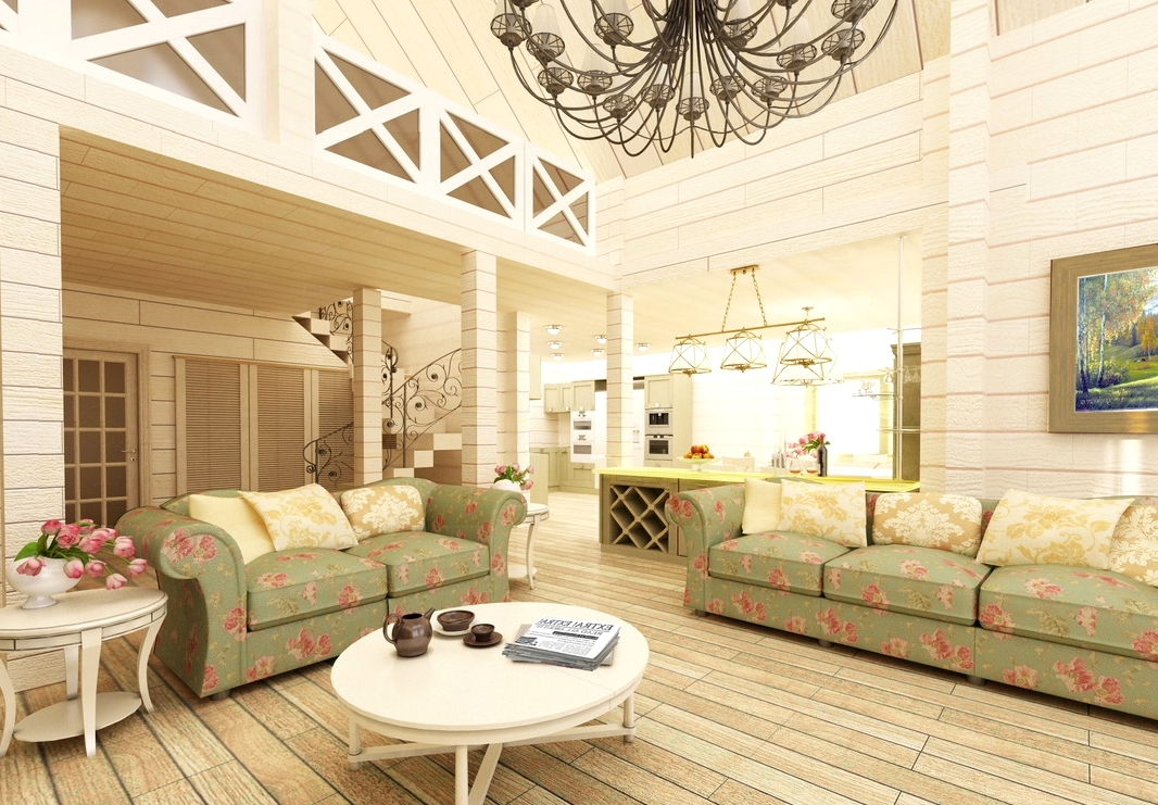 гостинная деревянного дома