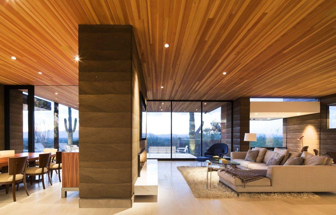 деревянный потолок натяжной