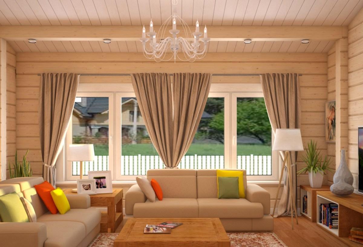Гостиная дизайн в деревянном доме фото