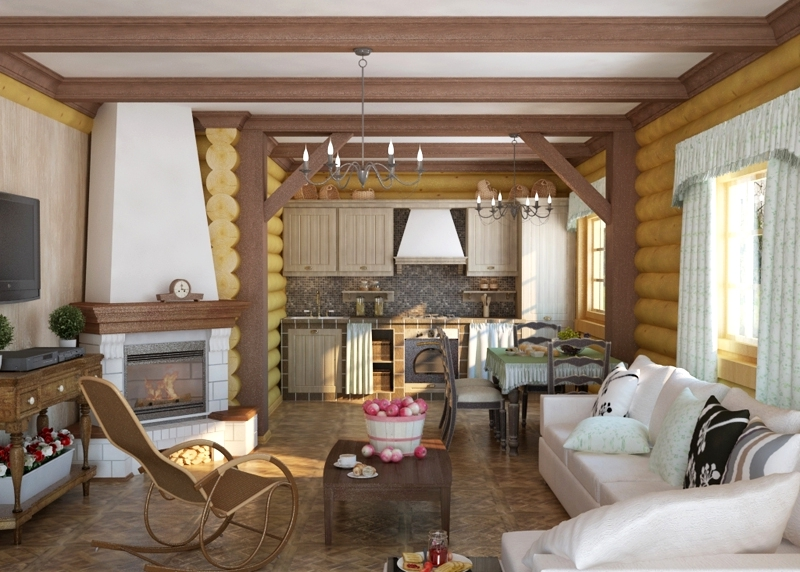 Гостиная-кухня дизайн фото в деревянном доме