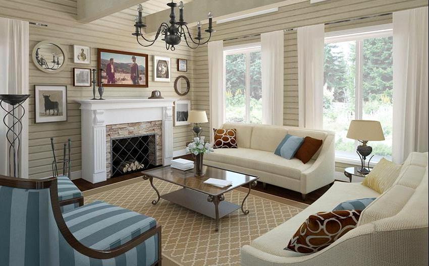 интерьер зала фото в деревянном доме