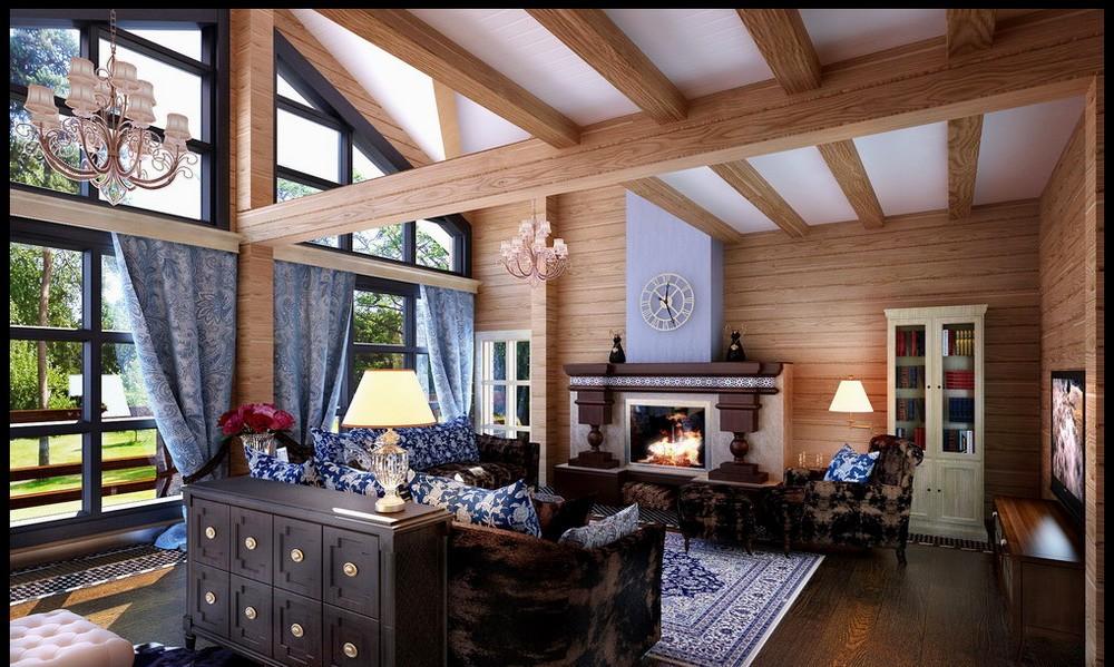 интерьер деревянного дома гостинная4