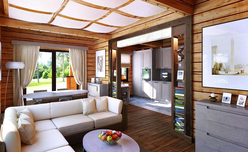 интерьер деревянного дома гостинная5