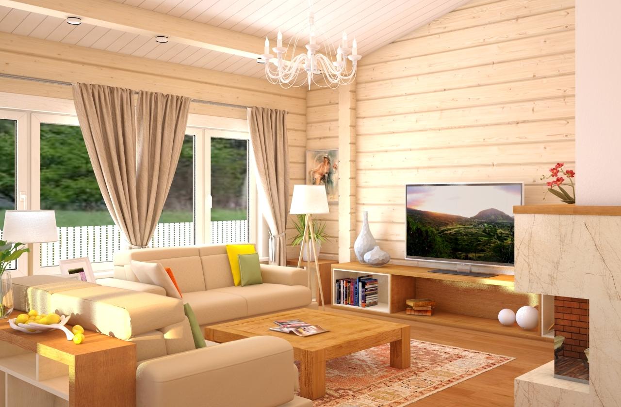 интерьер деревянного дома гостинная7