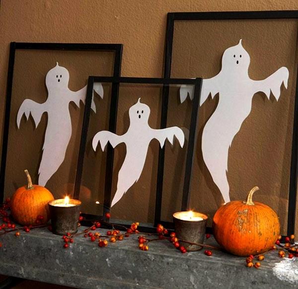 привидения из картона на хэллоуин