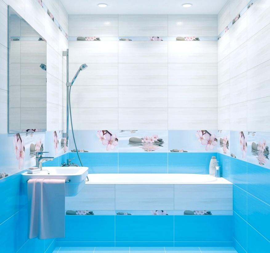 голубой цвет в интерьере ванная