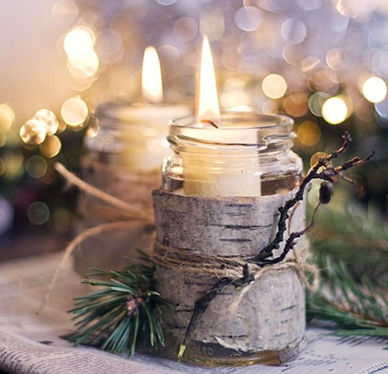 новогодний декор свеча