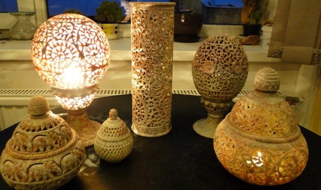светильники из  камня