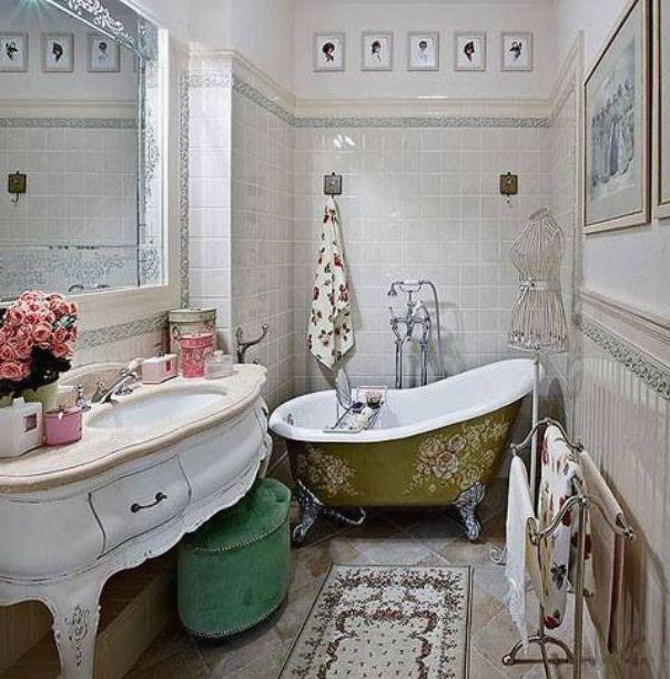 Стиль винтаж в интерьере ванна