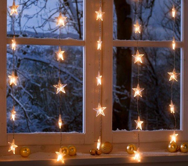 декор окна новогодний