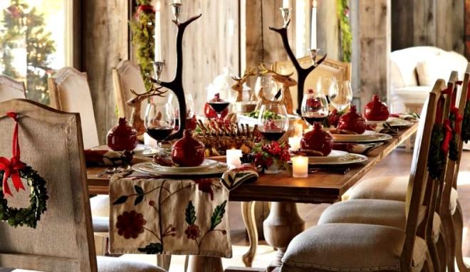новогодний декор стола в эко стиле