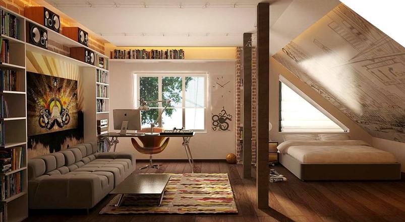спальня для подростка на мансарде