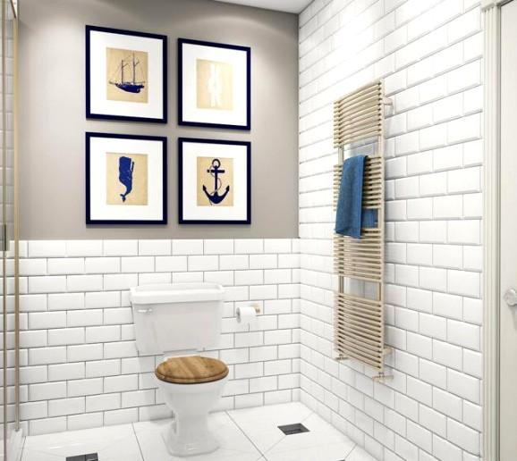 скандинавский дизайн ванной комнаты морской